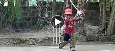 Watch the Video of a Three Years Old Boy Showing His Classical Batting Skills