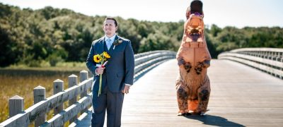 Groom is trolled after seeing the bride in T-Rex costume